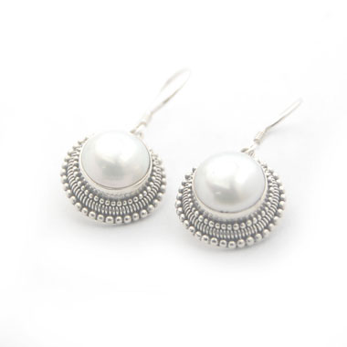 Pearl earring unique silver jewelry