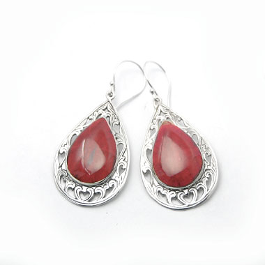 red coral earring